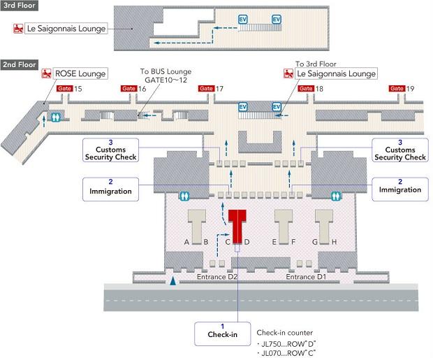 Sơ đồ đến phòng chờ Le Saigonnaise Lounge của Japan Airlines