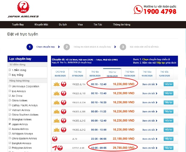cách săn vé máy bay giá rẻ japan airlines