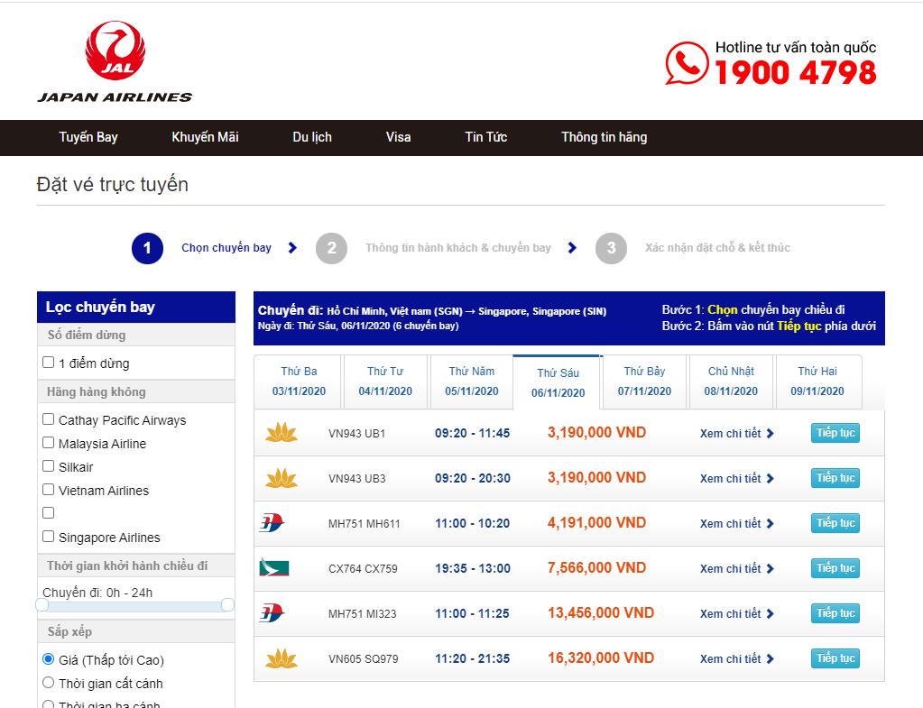 lich bay cua Japan airlines o Viet Nam